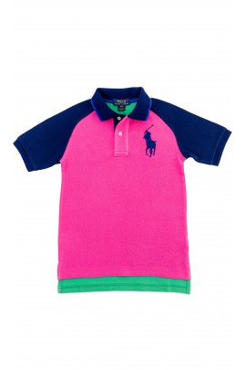 Boys pink-and-green polo shirt, Polo Ralph Lauren