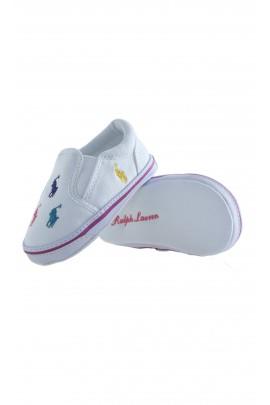 White baby shoes, Ralph Lauren