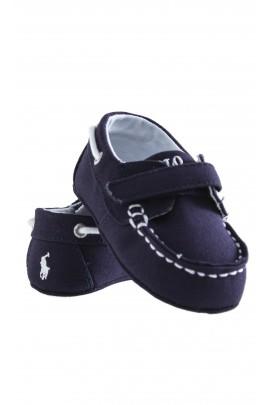 Navy blue linen baby loafers, Ralph Lauren