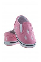 Pink linen baby shoes, Ralph Lauren