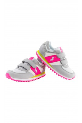 Grey-and-pink girls sports shoes, Polo Ralph Lauren