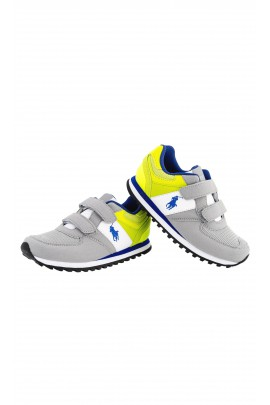 Boys grey-and-green sports shoes with velcros, Polo Ralph Lauren