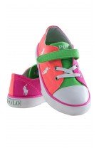 Orange-and-pink single-Velcro plimsoll shoes, Polo Ralph Lauren