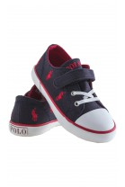 Navy blue single-Velcro plimsoll shoes, Polo Ralph Lauren