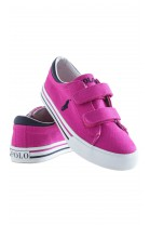 Pink plimsoll shoes with two Velcro straps, Polo Ralph Lauren