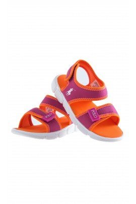 Orange Velcro-fastened sandals, Polo Ralph Lauren