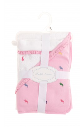 White-and-red babys bath towel, Polo Ralph Lauren