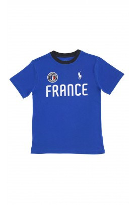 Blue T-shirt with FRANCE inscription, Polo Ralph Lauren