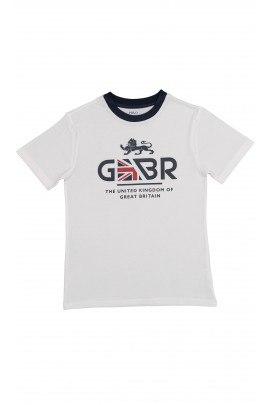 White T-shirt with GBR inscription, Polo Ralph Lauren