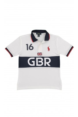 White-and-navy blue polo shirt with GBR inscription, Polo Ralph Lauren