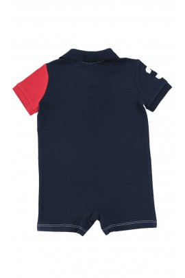 White-and-navy blue boys romper, Polo Ralph Lauren