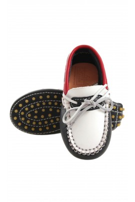 white-and-navy blue moccasins, Atlanta Mocassin
