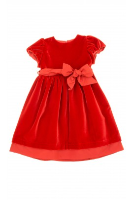 Velour, short-sleeved dress - red, Mariella Ferrari