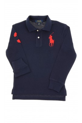 Navy blue, long-sleeved boy's polo shirt, Polo Ralph Lauren
