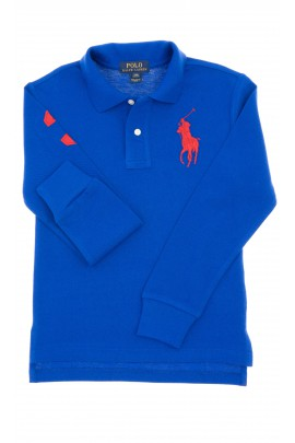 Sapphire, long-sleeved boy's polo shirt, Polo Ralph Lauren