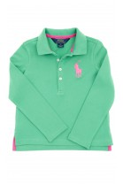 Green, long-sleeved girl's polo shirt, Polo Ralph Lauren