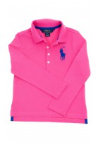 Pink, long-sleeved girl's polo shirt, Polo Ralph Lauren