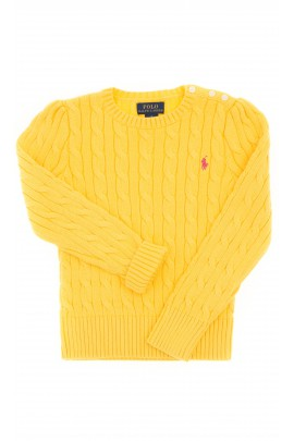 Yellow sweater, plait weave, Polo Ralph Lauren
