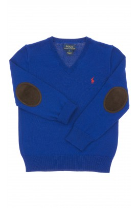 Sapphire boys sweater, V-letter neckline, Polo Ralph Lauren
