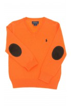 Orange boys sweater, V-letter neckline, Polo Ralph Lauren