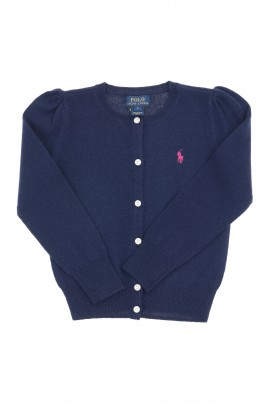 Navy blue girls cardigan with buttons in the front, Polo Ralph Lauren