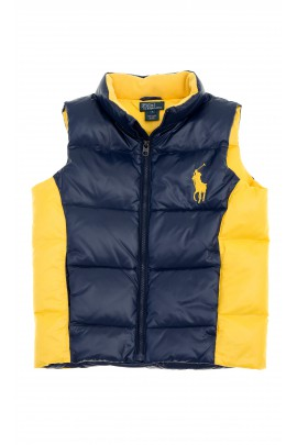 Navy blue-and-yellow boys gilet, Polo Ralph Lauren