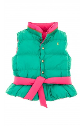 Girls' reversible sleeveless coat (pink/green), Polo Ralph Lauren
