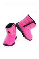 Pink snow boots with a navy blue horse in the front, Polo Ralph Lauren