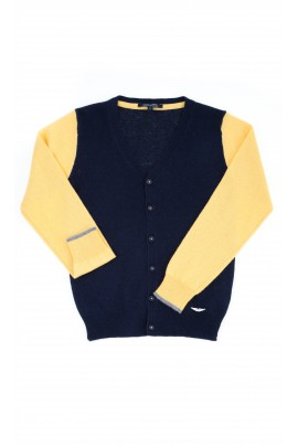 Yellow-and-navy blue cardigan, Aston Martin