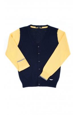 Yellow-and-navy blue cardigan, Aston Martin