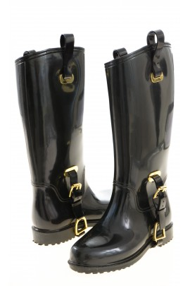 Black lined rubber boots, Polo Ralph Lauren