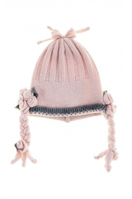 Pink-and-grey baby cap, Aletta