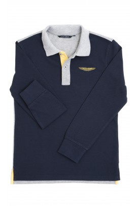 Navy blue-and-grey boy polo shirt, Aston Martin