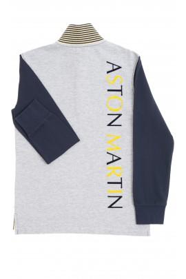 Navy blue-and-grey boy polo shirt, Aston Martin