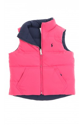 Two-sided pink-and-navy blue girl gilet, Polo Ralph Lauren