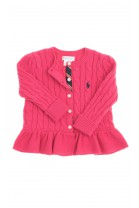 Dark pink frilled cardigan, Polo Ralph Lauren