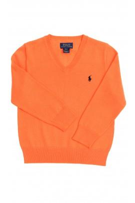 Orange sweater V-letter neckline, Polo Ralph Lauren