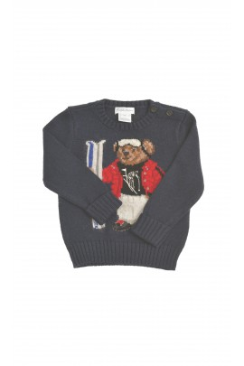 Navy blue sweater with a bear in the front, Polo Ralph Lauren