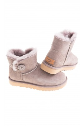 Light grey-brown boots fastened with a button on the side, UGG