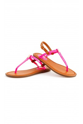 Pink leather flip-flops, Polo Ralph Lauren