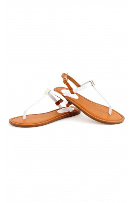 White leather flip-flops, Polo Ralph Lauren