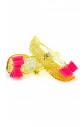Yellow mellissa shoes with pink bow, Billieblush