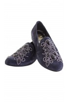 Navy blue slip-ons by Gallucci with Swarovski stones