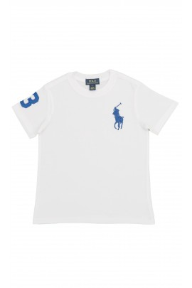 White T-shirt with a sapphire horse, Polo Ralph Lauren