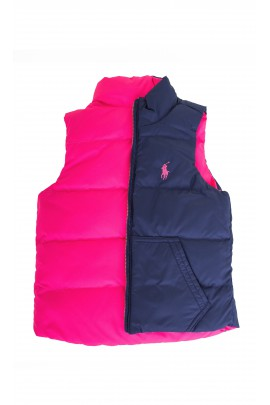 Two-sided navy blue-and-pink gilet, Polo Ralph Lauren