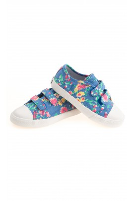 Colourfully flowered blue plimsolls, Polo Ralph Lauren