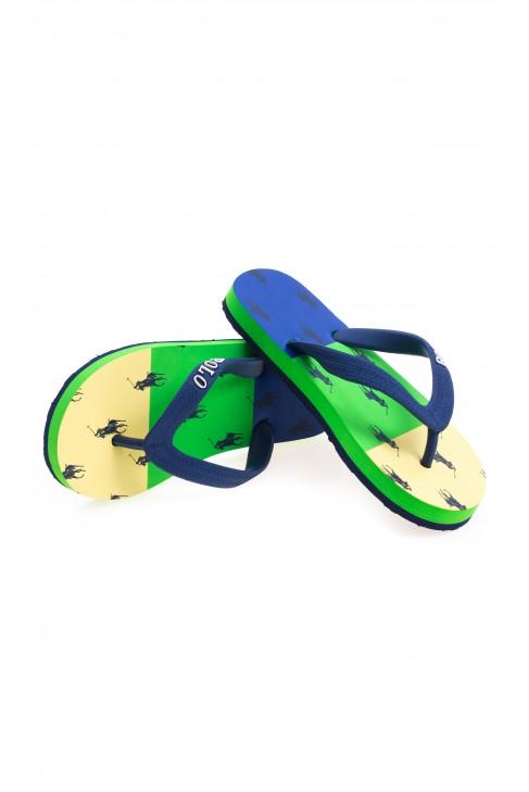 Yellow-green-and-blue flip-flops, Polo Ralph Lauren