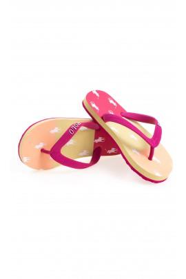 Orange-yellow-and-pink flip-flops, Polo Ralph Lauren