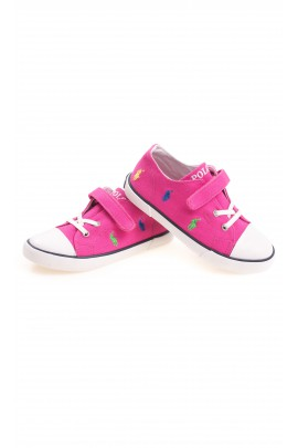 Pink single-Velcro plimsoll shoes, Polo Ralph Lauren