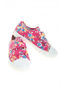 Colourfully flowered pink girls plimsolls, Polo Ralph Lauren
